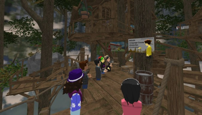 Gold Lotus English lesson in a jungle tree house in AltspaceVR.