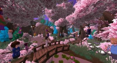 AltspaceVR cherry blossom stroll through the park.