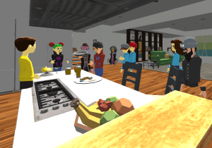 Learning kitchen names and cooking in English in AltspaceVR.