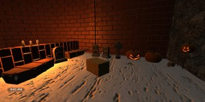 Halloween cemetery in church with lit pumpkins.
