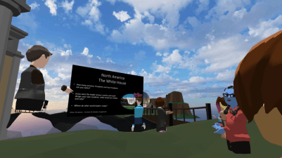 EDVR Virtual Schooling Team - Around the World event exploring landmarks with signs and information.