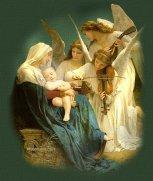 Los ángeles, María y el Niño Jesús