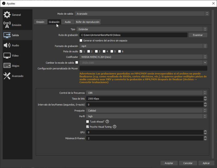 Configuración de la Salida de grabación para grabar clases online con OBS