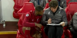 Liverpool Coach, Jürgen Klopp with a substitute player, Georginio Wijnaldum