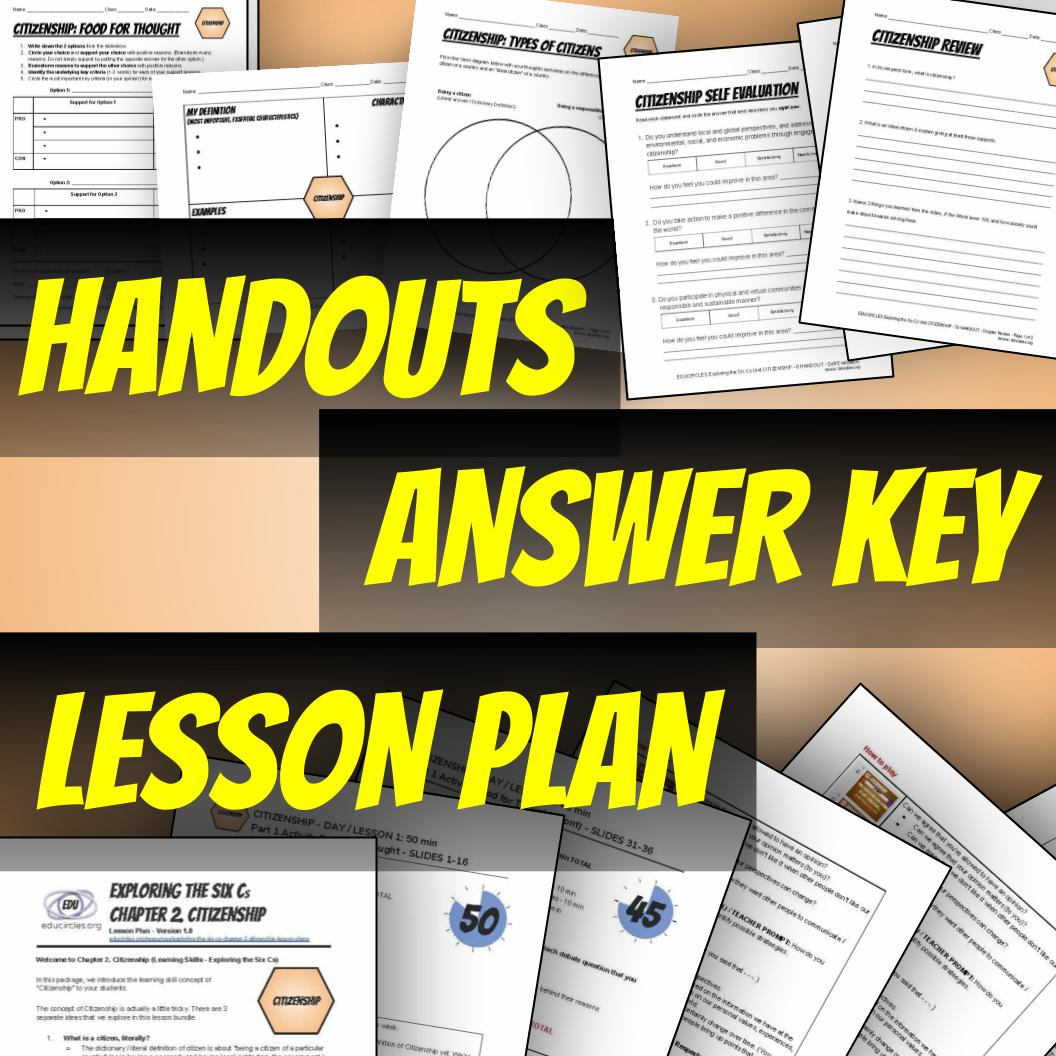 We provide handouts, answer keys, and lesson plans. Boo yah.