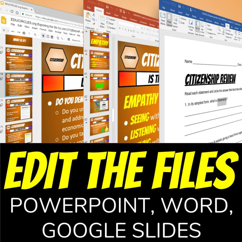 what makes a good citizen lesson plan screenshot showing that you can edit the files for your specific needs using powerpoint, word, or google slides.