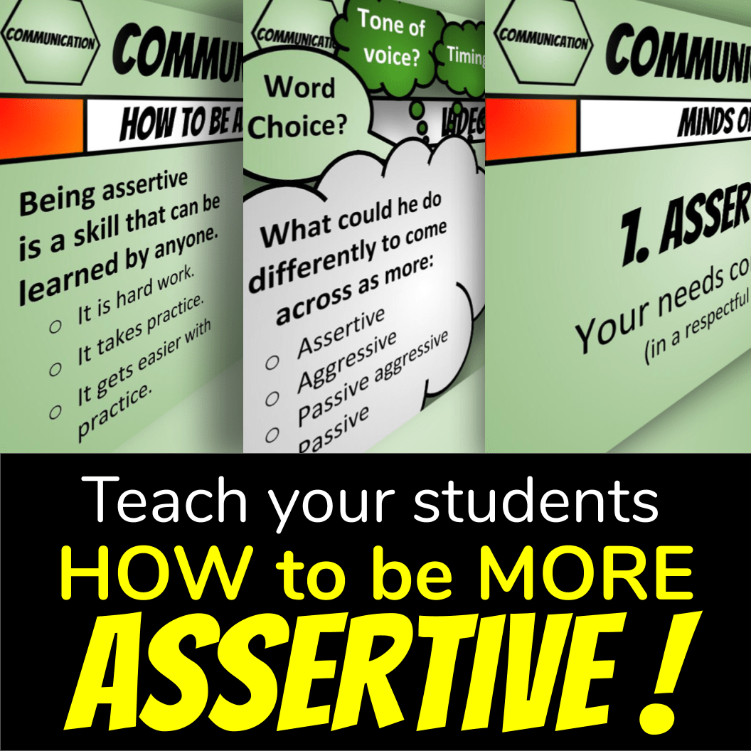 Screenshot of 3 slides: Effective Communication Lesson Plans means teaching your students how to be more assertive!