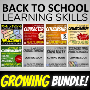 Back to School Learning Skills Growing Bundle showing screenshots of the included homeroom advisory activity lessons