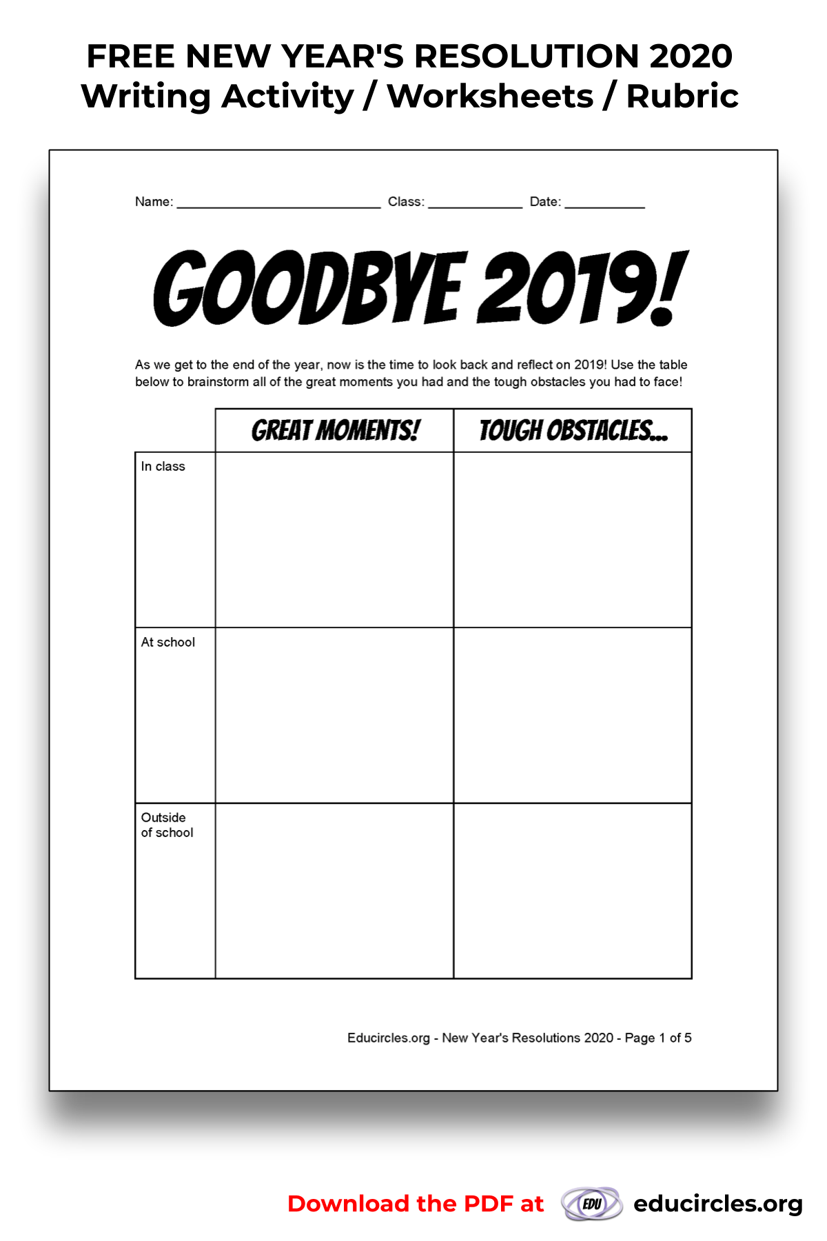 - FREE NEW YEAR'S RESOLUTION 2020 Writing Activity / Worksheet