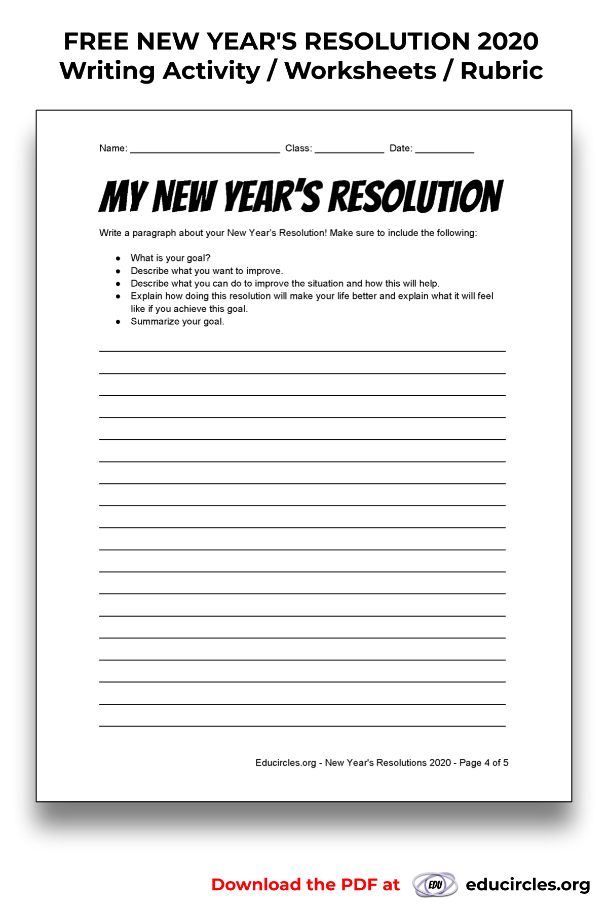 FREE NEW YEAR'S RESOLUTION 2020 Writing Activity / Worksheet