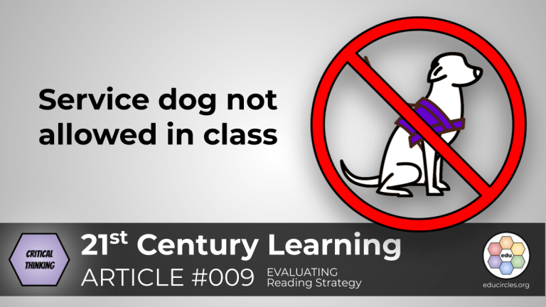 Service dog not allowed in class: Systemic Discrimination CRITICAL THINKING lesson (Reading Response Article 009)
