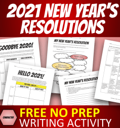 2021 NEW YEAR'S RESOLUTIONS ACTIVITY WORKSHEET / VIDEO [ 1024 x 1024 Pixel ]