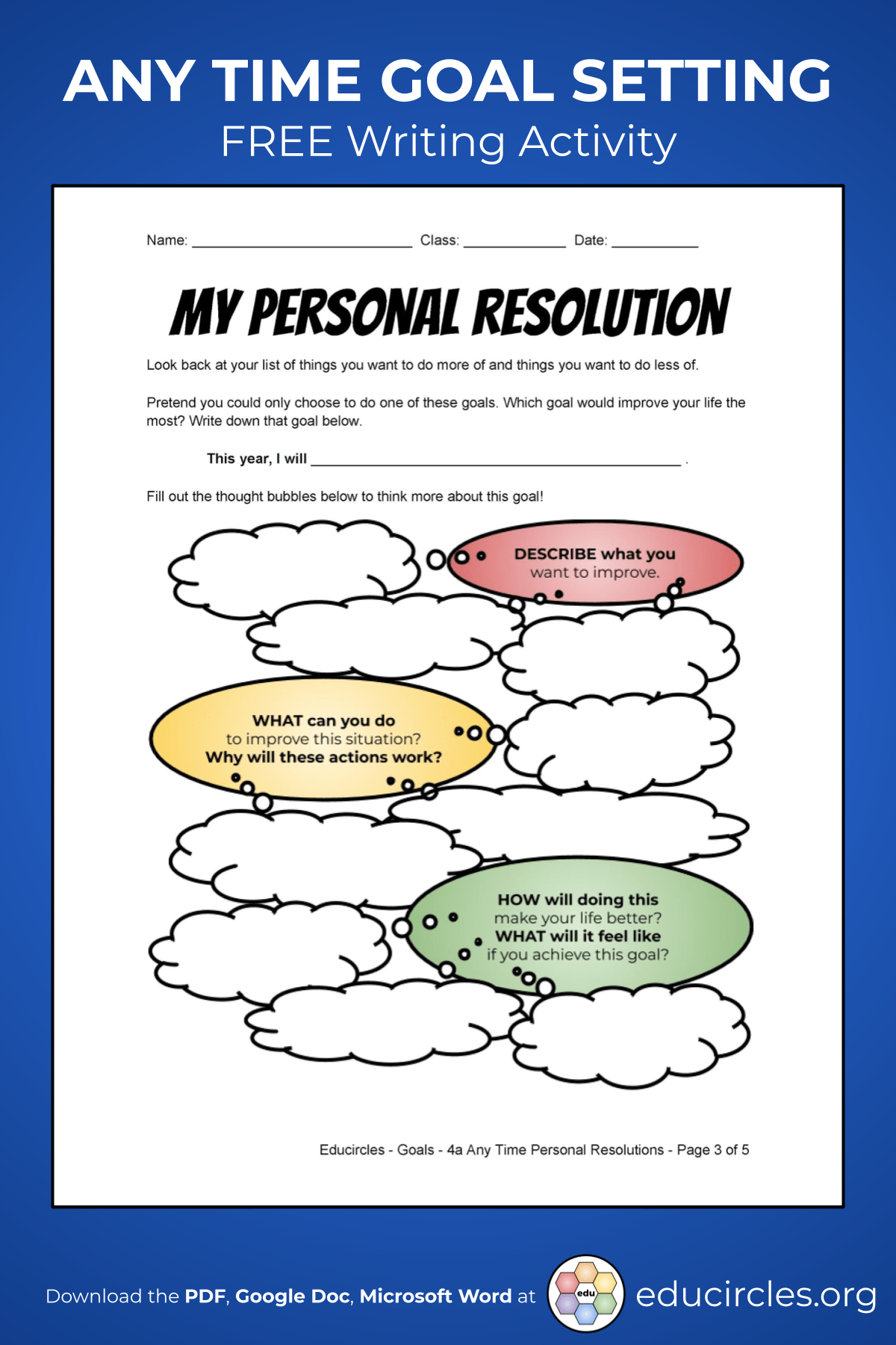 Screenshot of Goal Setting Handout Page 3 - My Personal Resolution Brainstorming Graphic Organizer