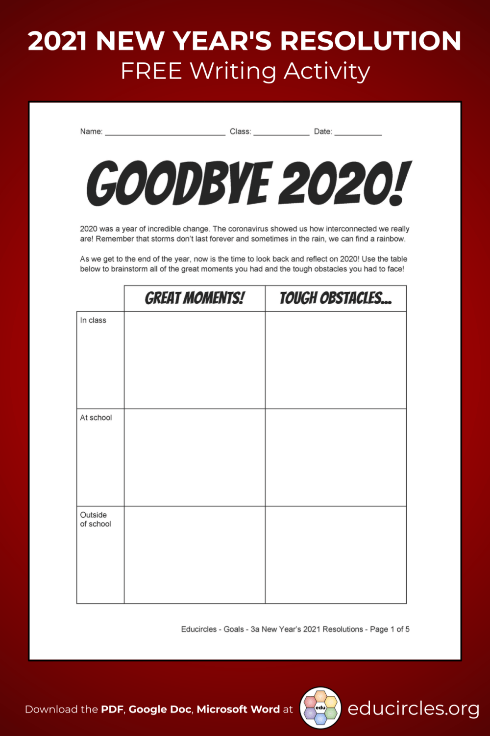 medium resolution of 2021 NEW YEAR'S RESOLUTIONS ACTIVITY WORKSHEET / VIDEO