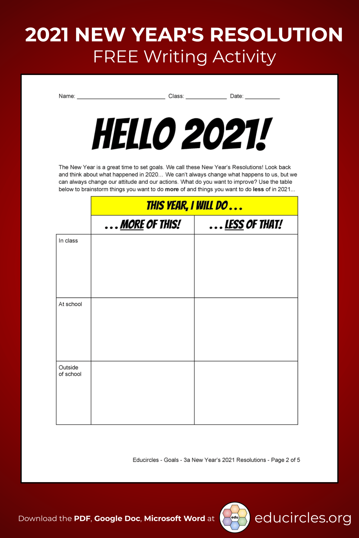 Screenshot of 2021 New Years Resolution Worksheet - page 2 Hello 2021
