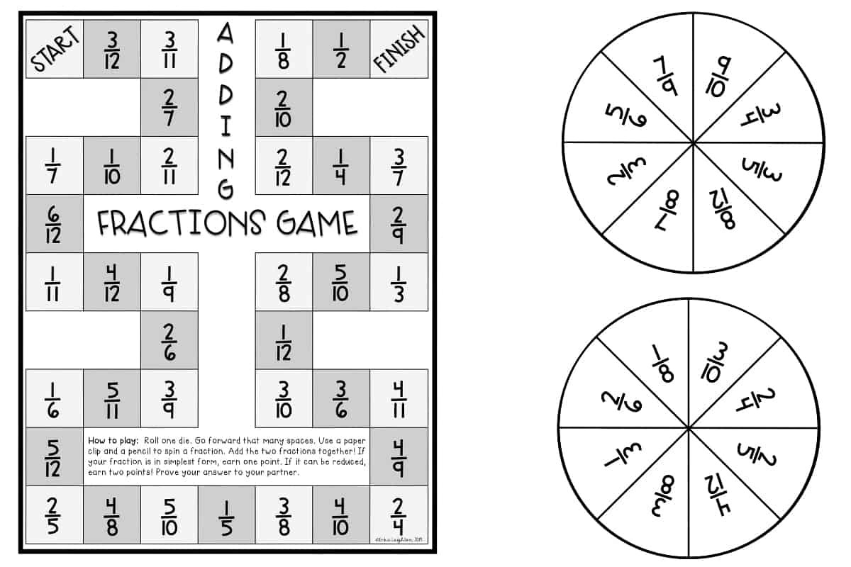 hight resolution of 11 Printable Board Games for Adding \u0026 Subtracting Fractions