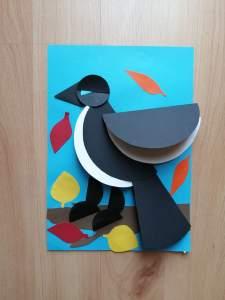 """""""Sroka w jesiennej odsłonie"""" – praca plastyczna wykonana techniką origami"""