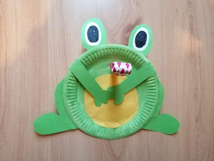 Żaba- praca plastyczna z wykorzystaniem talerzyka papierowego z elementem dźwiękowym