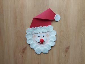 Mikołaj - praca plastyczna z wykorzystaniem talerzyka papierowego