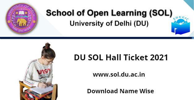 www.sol.du.ac.in hall ticket