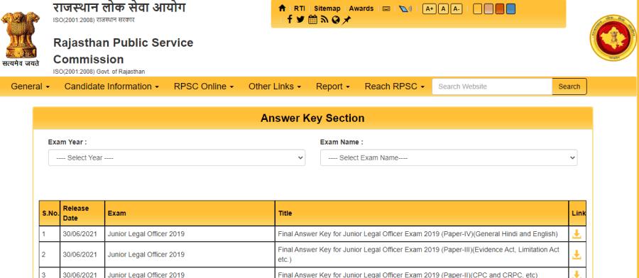 RPSC JLO Final Answer Key 2021