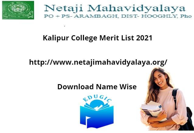 Kalipur College Merit List 2021