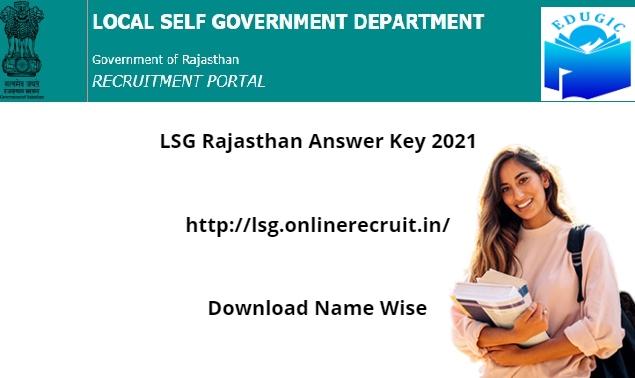 LSG Rajasthan Answer Key 2021