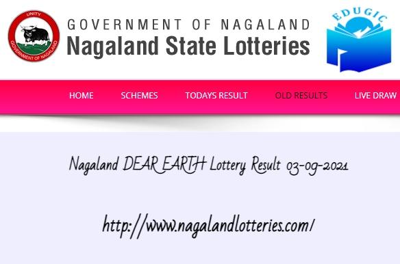 Nagaland DEAR EARTH Lottery Result 03-09-2021