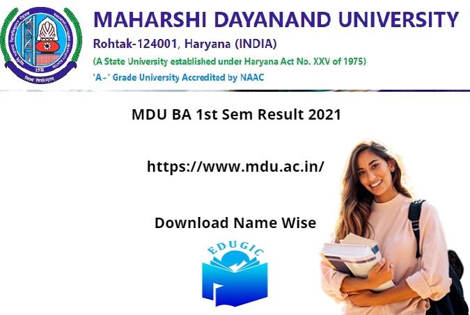 MDU BA 1st Sem Result 2021