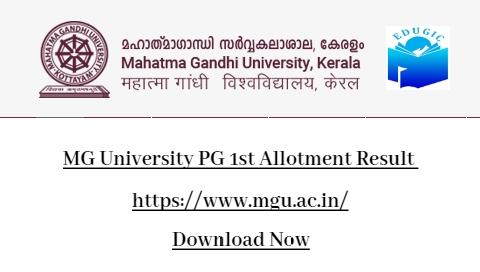 MG University PG 1st Allotment Result