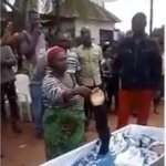 Woman Accused Of Killing Her Neighbour, Forced To Swear With The Dead Body In Abia State (Video)