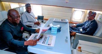 Photos of Buhari Inside Presidential Jet Leaving Abuja For UK
