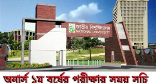National University Honours 1st year exam Routine bangladesh