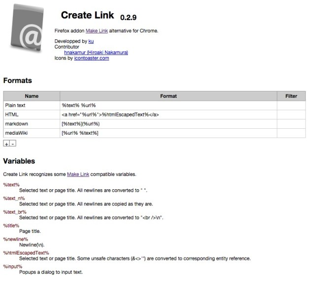 CreateLinkConfig