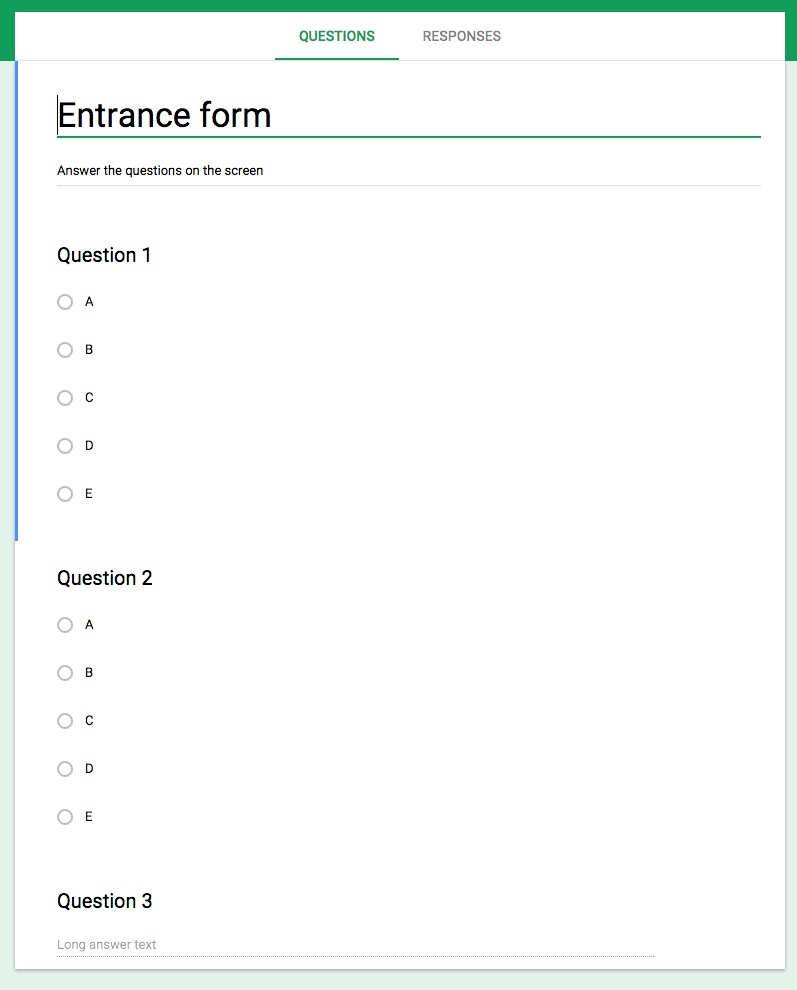 Exit and entrance tickets with Google Forms and Google Slides