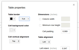 Two column layout in Google Docs