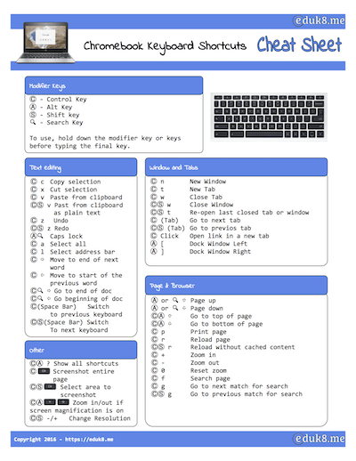 New freebie - Chromebook Keyboard Shortcuts Cheat Sheet