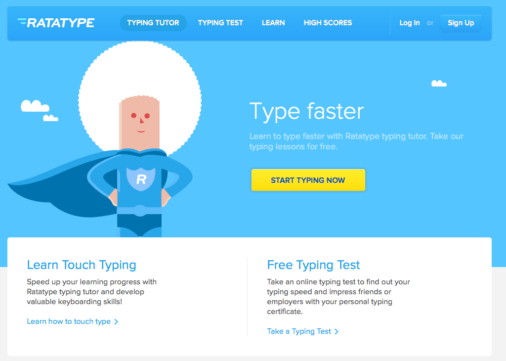Ratatype is a free online typing tutor and test