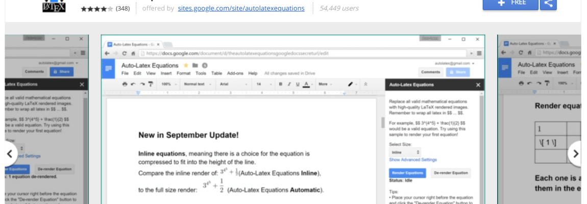 {Google Docs} Add math equations written with Latex easily to Google Docs