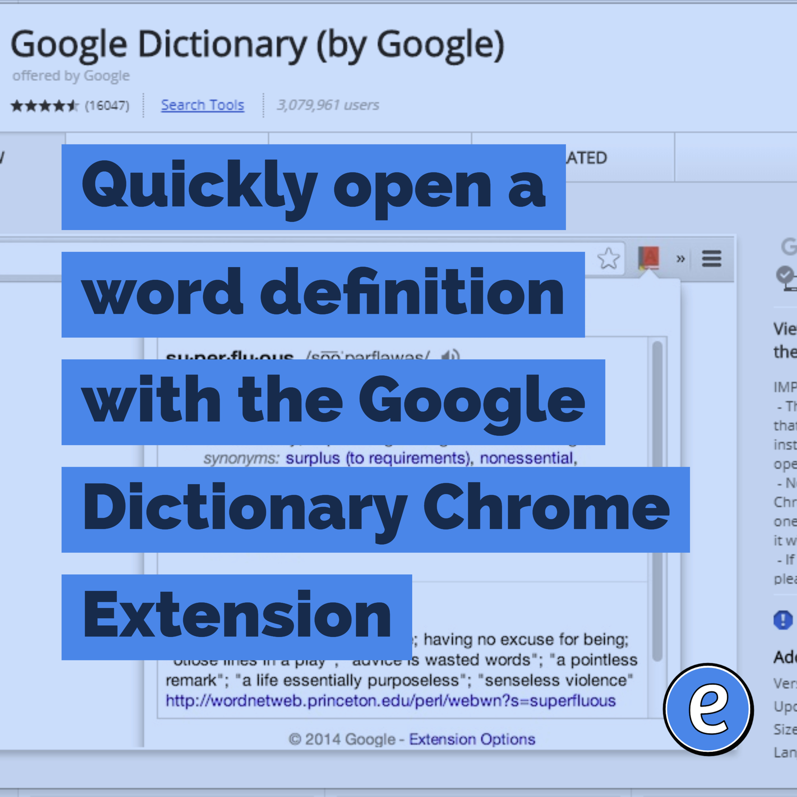 Quickly open a word definition with the Google Dictionary Chrome Extension