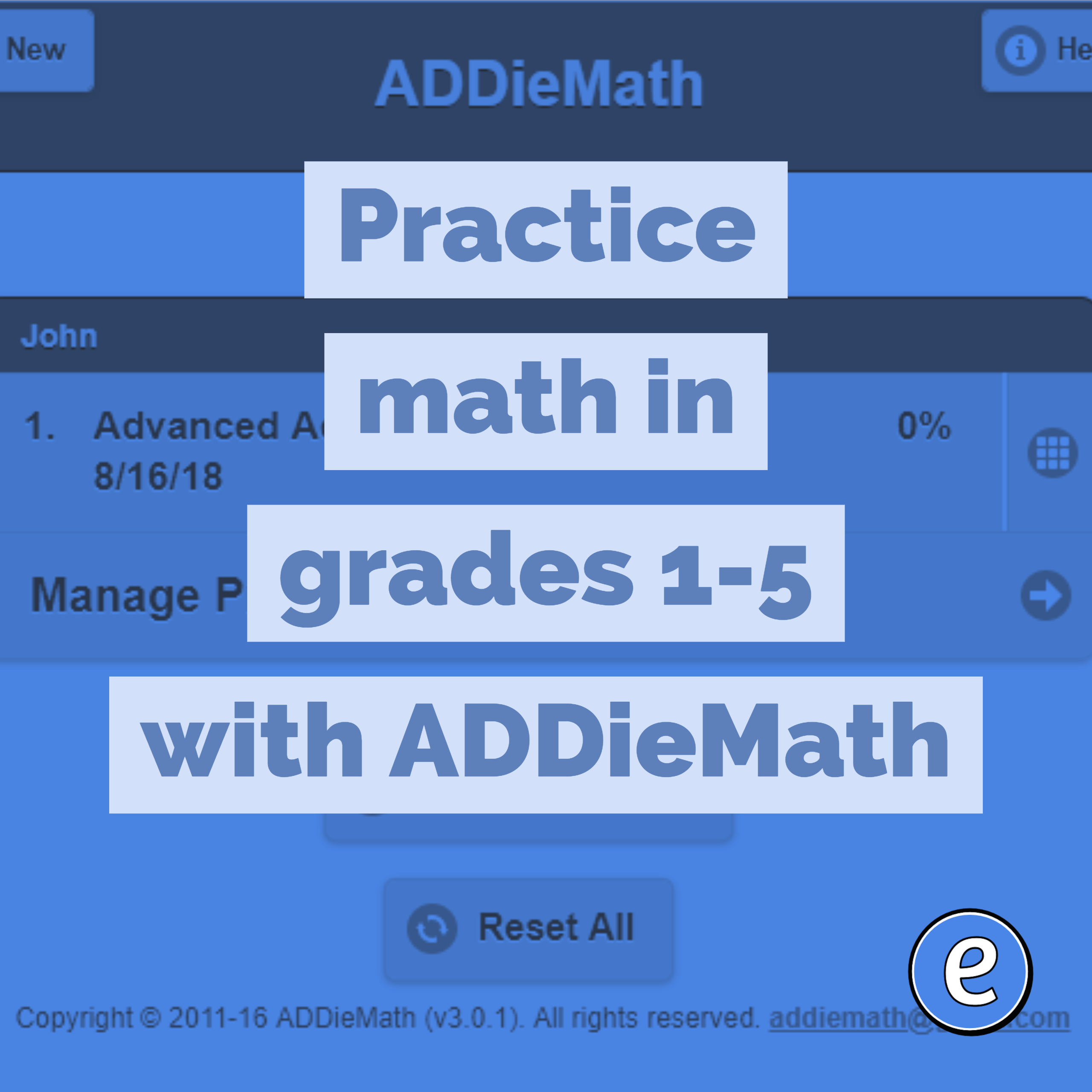Practice math in grades 1-5 with ADDieMath