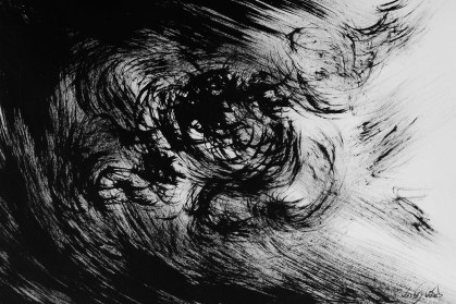 Abstract Black and white painting of darkness.