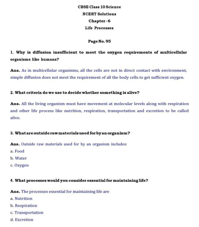 Class-10 Ch -6-Life Processes – Page wise NCERT Solution  