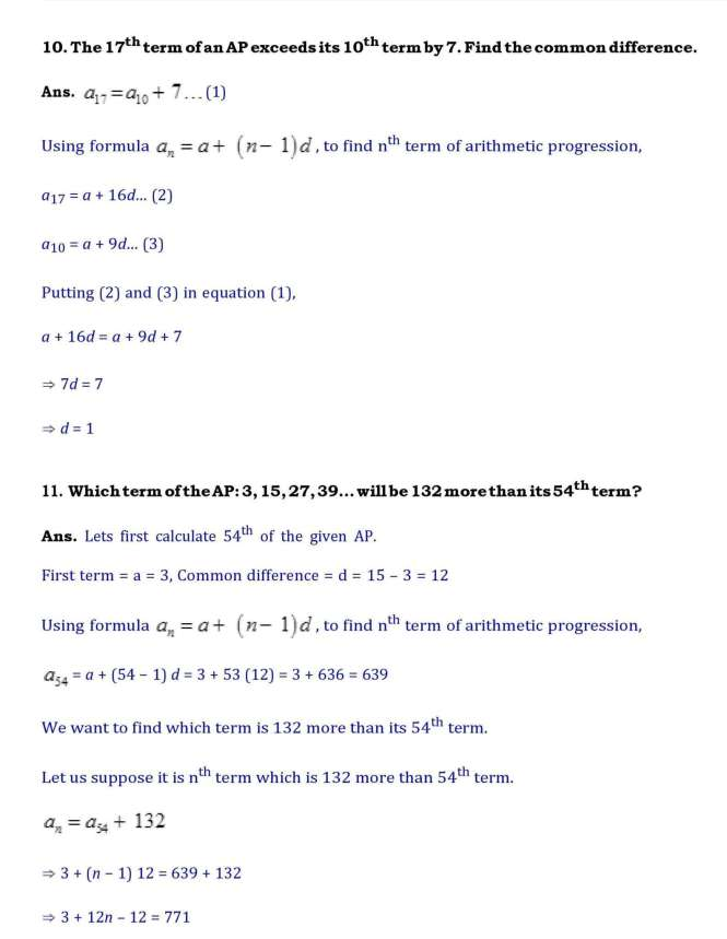 Ch-5 –Arithmetic Progressions – Page wise NCERT Solution (5 2) |