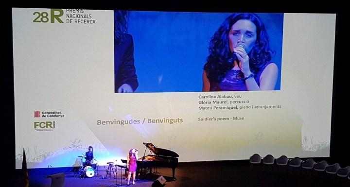 A l'entrega dels Premis Nacionals de Recerca, al Teatre Nacional de Barcelona