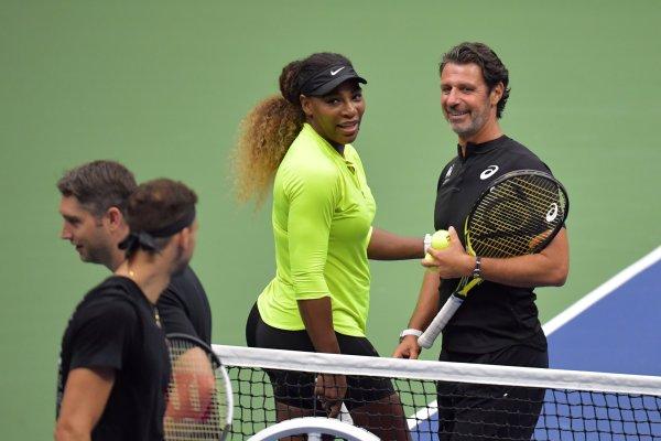 Patrick Mouratoglou e Serena Williams em treino durante o US Open.