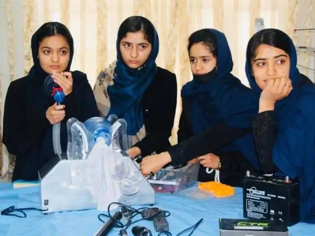 Afghan schoolgirls of Robotic Team designing a ventilator to help combat COVID-19 infection in their country