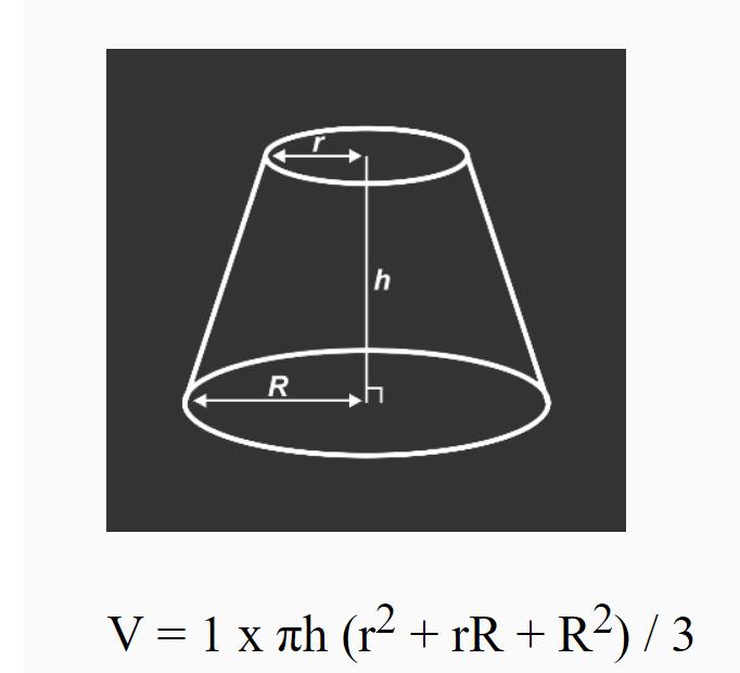 math - frustum of a cone