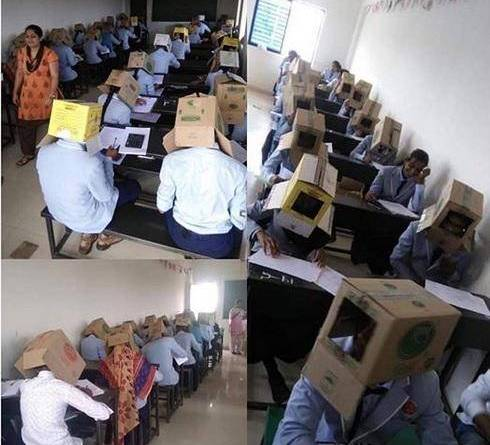 Indian Students Wear Cartons in Exam Hall