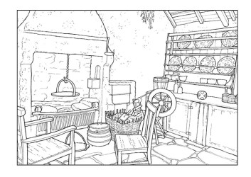 Coloring Page living room 18th century free printable coloring pages